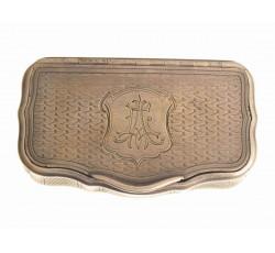 Серебряная табакерка-коробочка.  Австро-Венгрия 19век.