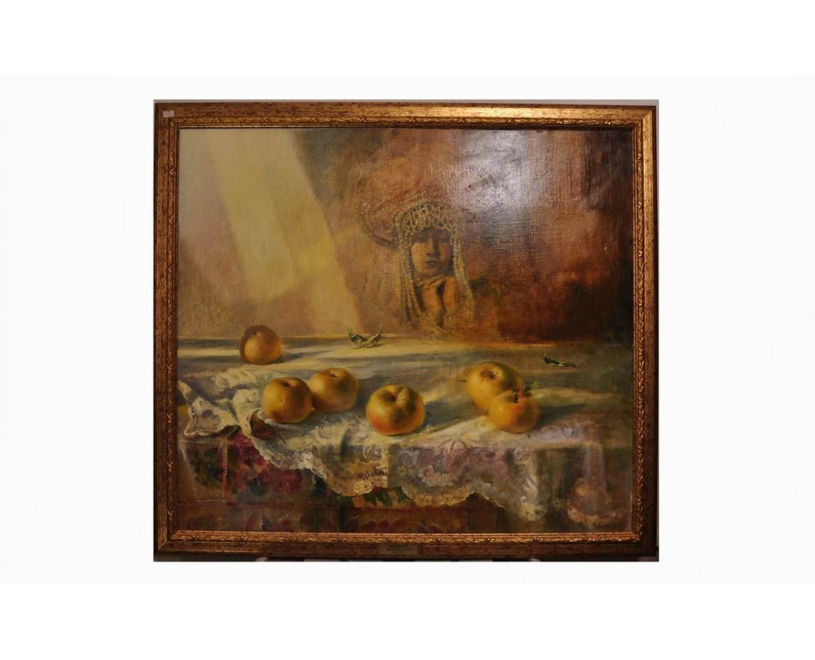 "Живопись маслом. Картина ""Яблоки на столе""."