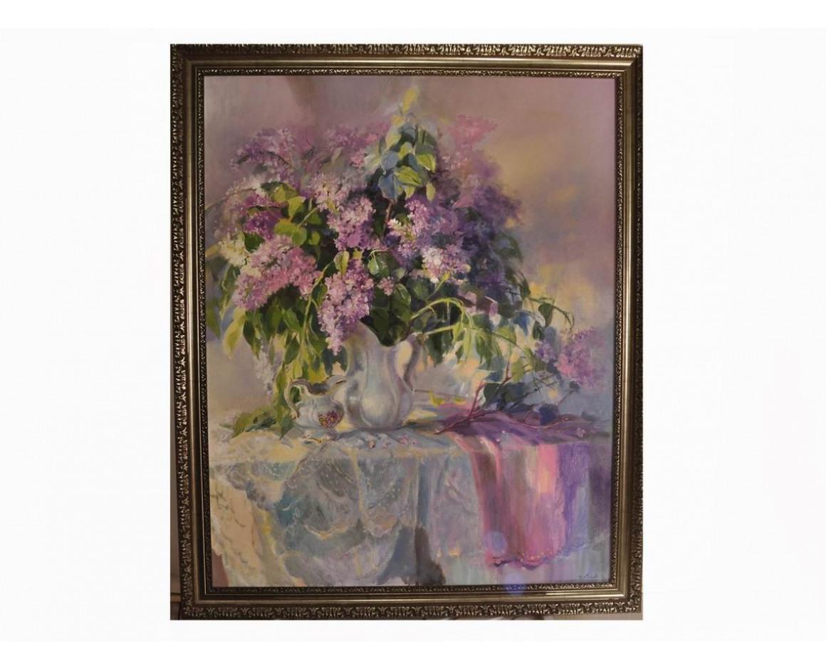 "Живописная картина с цветами ""Сиреневый туман"""