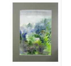 """Живописная картина акварелью """"После дождя""""."""