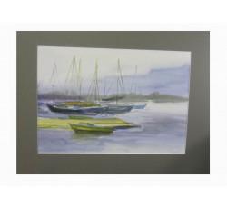 """Картина акварелью """"Серый день на реке""""."""