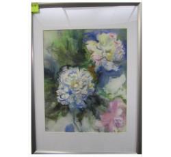 Картина с букетом цветов. В раме под стеклом.