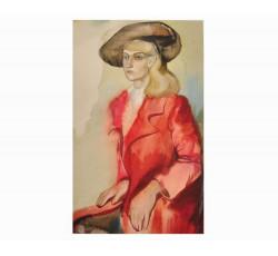 Женский портрет акварелью.