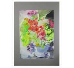 """Картина акварелью """"Цветы на солнце""""."""
