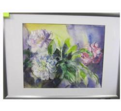 Натюрморт акварелью с цветами.