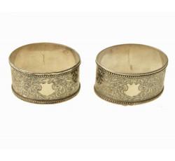 Пара коллекционных серебряных колец под салфетки