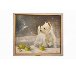Картина с собакой и птицами. Масло. Холст.