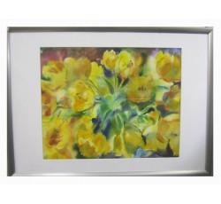 Картина акварелью с желтыми тюльпанами.