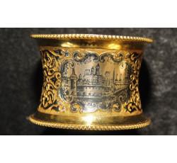 Старинное серебряное кольцо с изображением кремля. 84 проба.